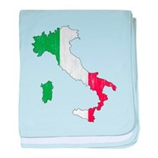 Italy Flag And Map baby blanket