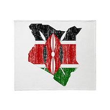 Kenya Flag And Map Throw Blanket