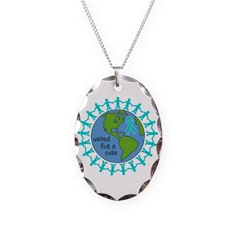 Ovarian Cancer United For A Cure Necklace Oval Cha