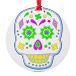 PSYCHEDELIC SKULL Round Ornament