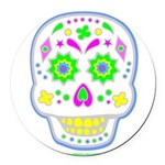PSYCHEDELIC SKULL Round Car Magnet