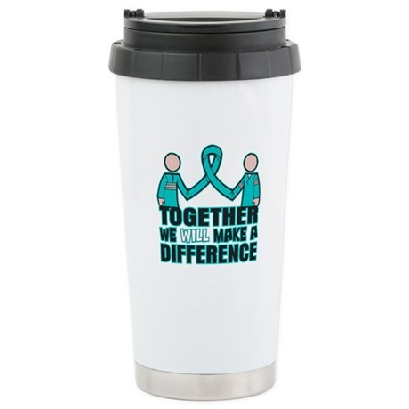 Ovarian Cancer Together Ceramic Travel Mug