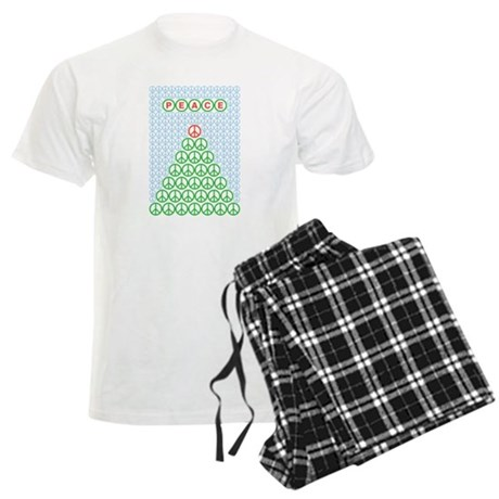 peace_xmas_tree.png Men's Light Pajamas