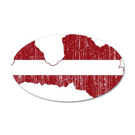 Latvia Flag And Map 35x21 Oval Wall Decal
