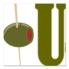 "OLIVE U (I LOVE YOU) Square Car Magnet 3"" x 3"""
