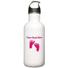 Baby Feet Pink Personalized Water Bottle