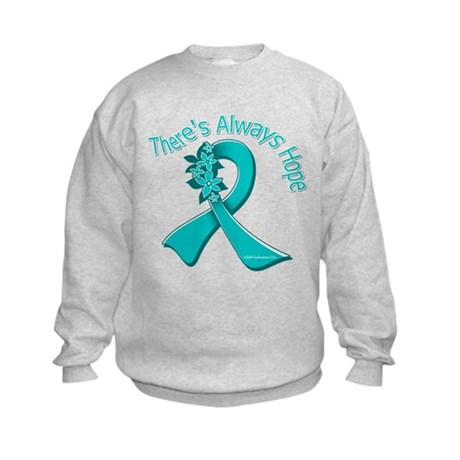 Ovarian Cancer There's Always Hope Kids Sweatshirt