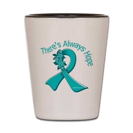 Ovarian Cancer There's Always Hope Shot Glass