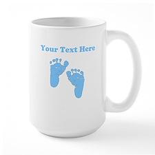 Personalized Baby Feet Blue Mug