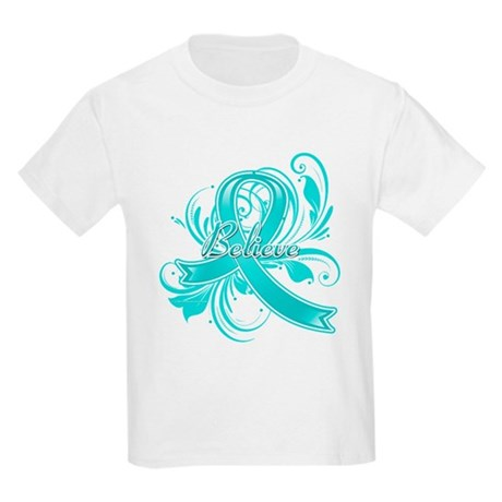 Ovarian Cancer Believe Kids Light T-Shirt