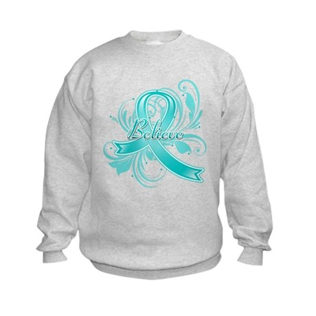 Ovarian Cancer Believe Kids Sweatshirt