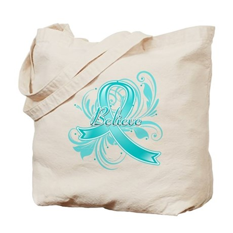 Ovarian Cancer Believe Tote Bag