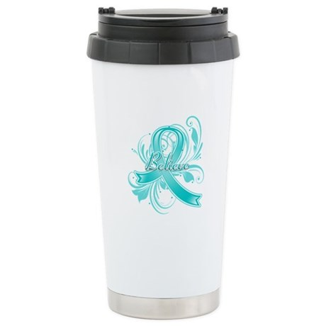 Ovarian Cancer Believe Ceramic Travel Mug