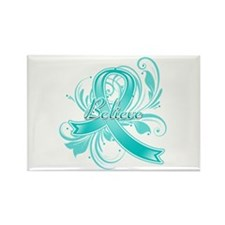 Ovarian Cancer Believe Rectangle Magnet (100 pack)