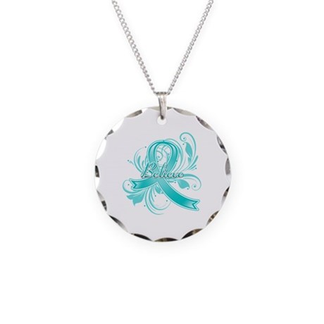 Ovarian Cancer Believe Necklace Circle Charm