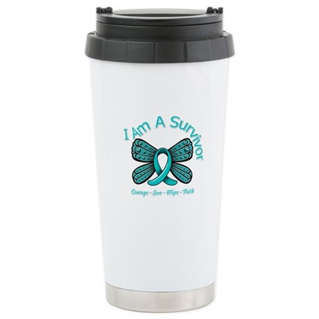 Ovarian Cancer I Am A Survivor Ceramic Travel Mug