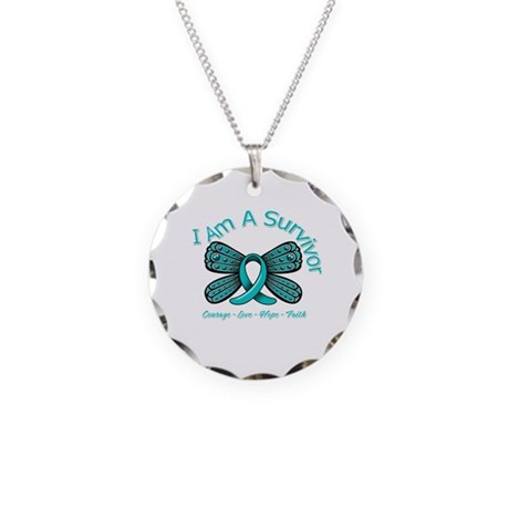 Ovarian Cancer I Am A Survivor Necklace Circle Cha