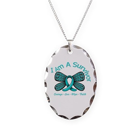 Ovarian Cancer I Am A Survivor Necklace Oval Charm