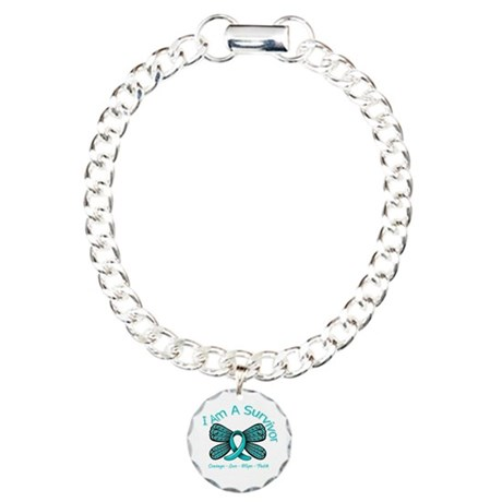 Ovarian Cancer I Am A Survivor Charm Bracelet, One