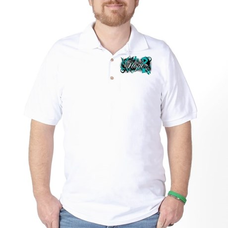 Ovarian Cancer Hope Garden Ribbon Golf Shirt