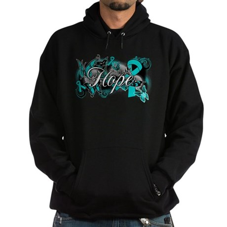 Ovarian Cancer Hope Garden Ribbon Hoodie (dark)