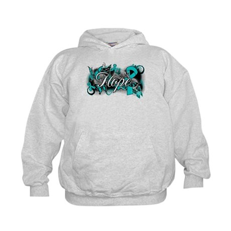 Ovarian Cancer Hope Garden Ribbon Kids Hoodie