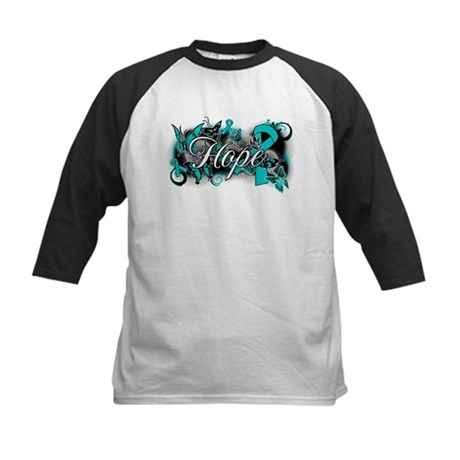 Ovarian Cancer Hope Garden Ribbon Kids Baseball Je