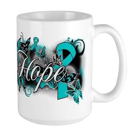Ovarian Cancer Hope Garden Ribbon Large Mug