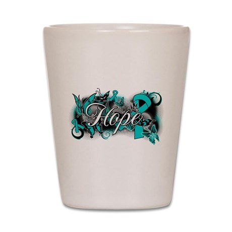 Ovarian Cancer Hope Garden Ribbon Shot Glass