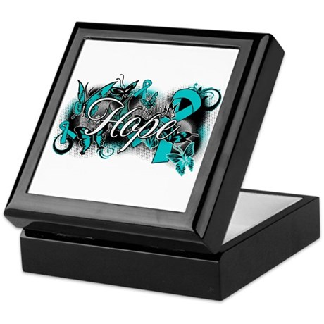Ovarian Cancer Hope Garden Ribbon Keepsake Box