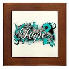 Ovarian Cancer Hope Garden Ribbon Framed Tile