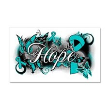 Ovarian Cancer Hope Garden Ribbon Car Magnet 20 x