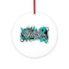 Ovarian Cancer Hope Garden Ribbon Ornament (Round)