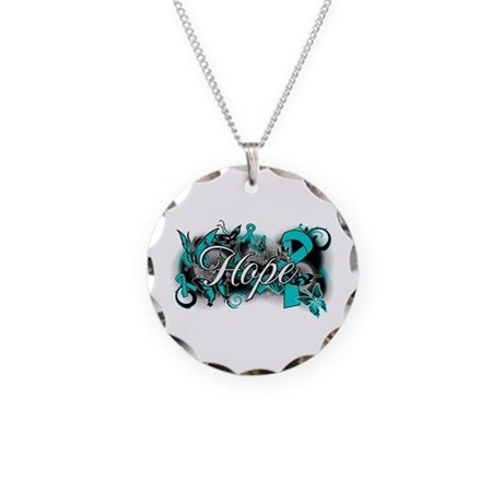 Ovarian Cancer Hope Garden Ribbon Necklace Circle