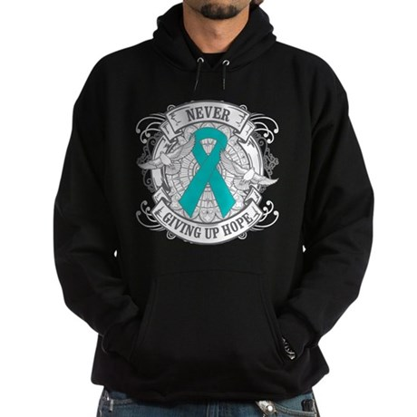 Ovarian Cancer NEVER GIVING UP HOPE Hoodie (dark)