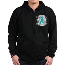 Ovarian Cancer NEVER GIVING UP HOPE Zip Hoodie