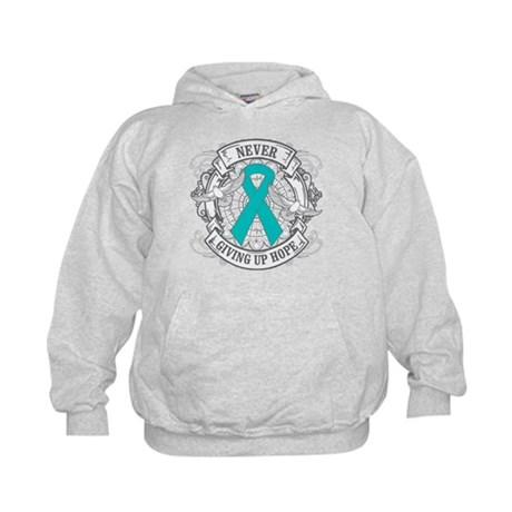 Ovarian Cancer NEVER GIVING UP HOPE Kids Hoodie