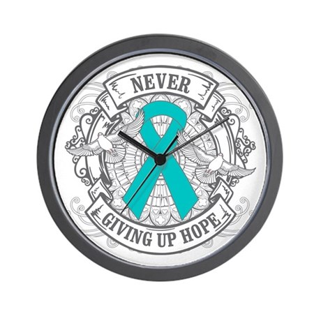 Ovarian Cancer NEVER GIVING UP HOPE Wall Clock
