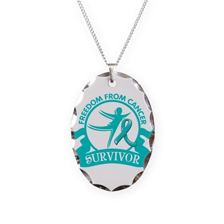 Freedom From Ovarian Cancer Shirts Necklace Oval C