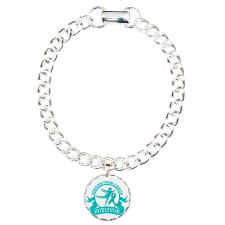 Freedom From Ovarian Cancer Shirts Charm Bracelet,