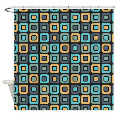 Dark mustard retro squares pattern shower curtain by for Mustard bathroom accessories uk
