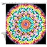 Swirling Bright Rainbow mandala Shower Curtain