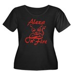 Alexa On Fire Women's Plus Size Scoop Neck Dark T-