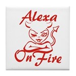 Alexa On Fire Tile Coaster