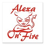 Alexa On Fire Square Car Magnet 3