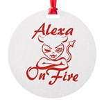 Alexa On Fire Round Ornament