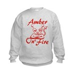 Amber On Fire Kids Sweatshirt