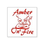Amber On Fire Square Sticker 3