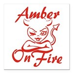 Amber On Fire Square Car Magnet 3