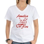 Amelia On Fire Women's V-Neck T-Shirt